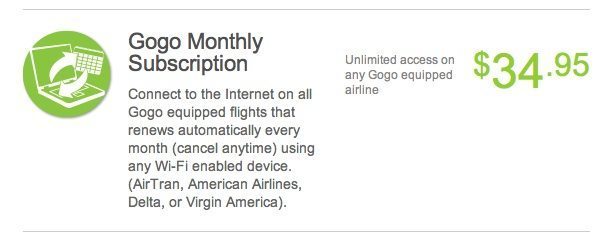 GoGo In-flight WiFi -$35 A Month Unlimited