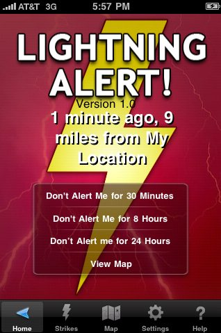New PinPoint Lightning iPhone App with Geo-Located Lightning Alerts