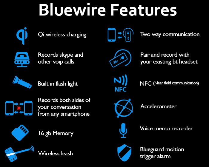 Bluewire call recorder features