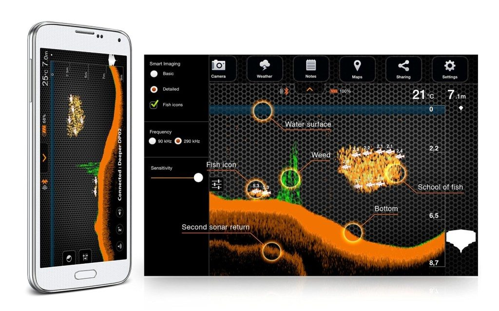 Deeper Smart Fishfinder connects to your smartphone