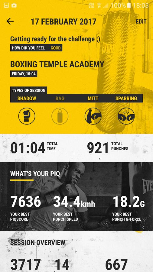 PiQ Everlast Boxing Sensor System has an app