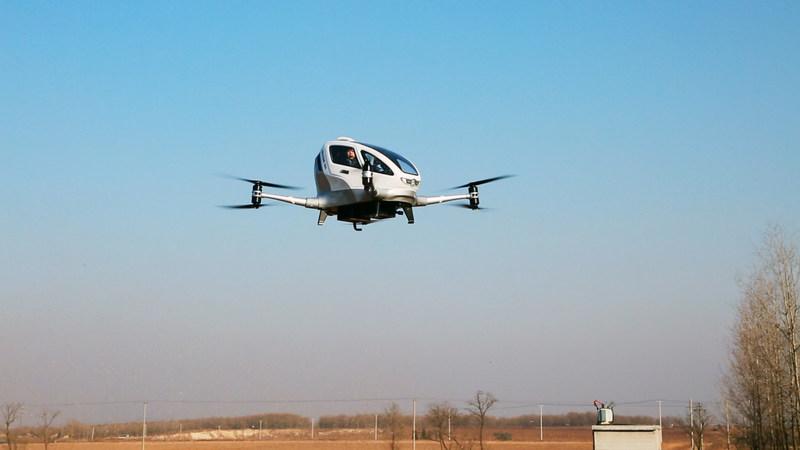 EHang 184 flies with man inside