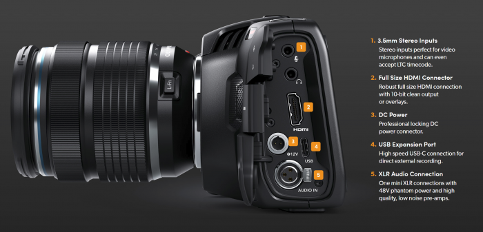 Blackmagic Pocket Cinema Camera 4K has plenty of inputs