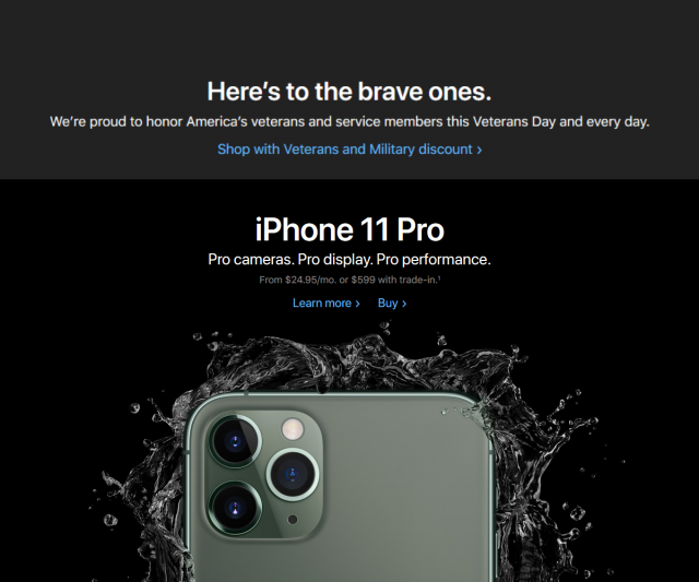 Apple is offering a Veterans Day Discount