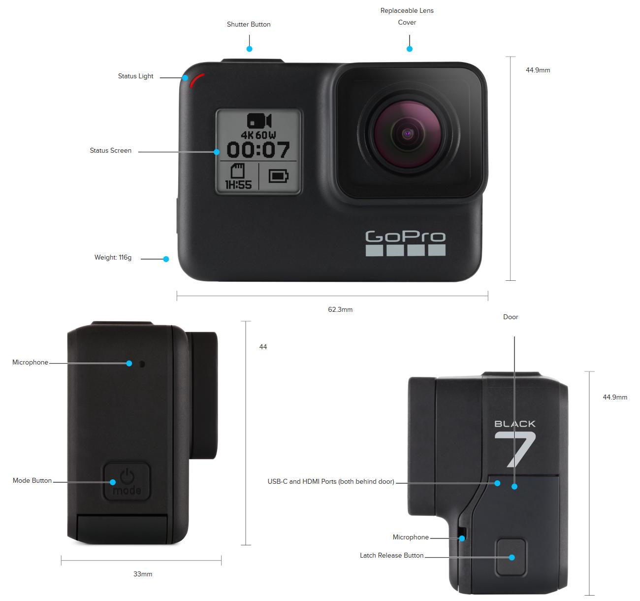 GoPro Action Camera Hero 7 Black's Design - Front, Left and Back Sides