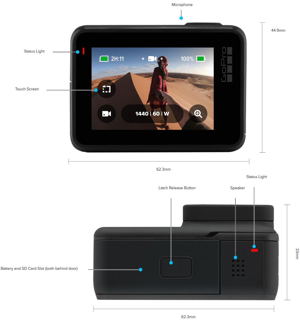GoPro Action Camera Hero 7 Black's Design - Back and Bottom Sides