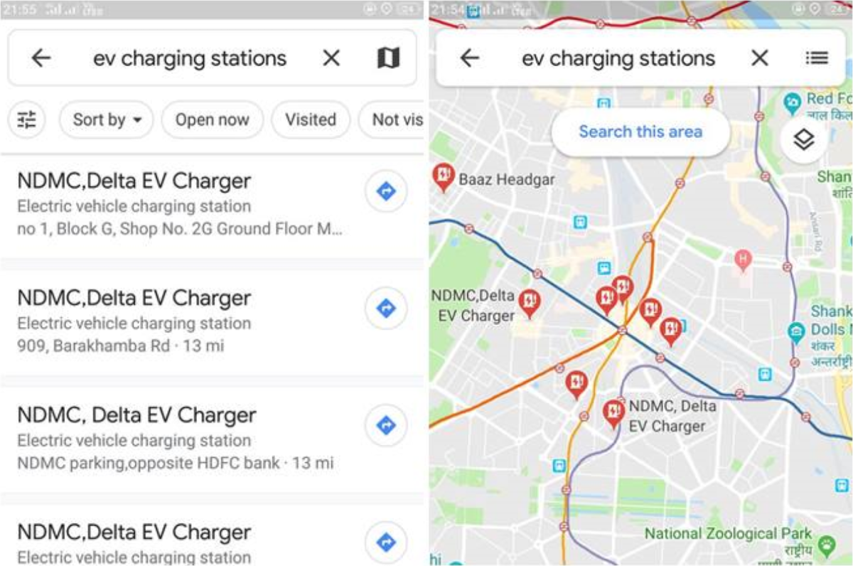 Google Maps Old Charging Stations Search Options