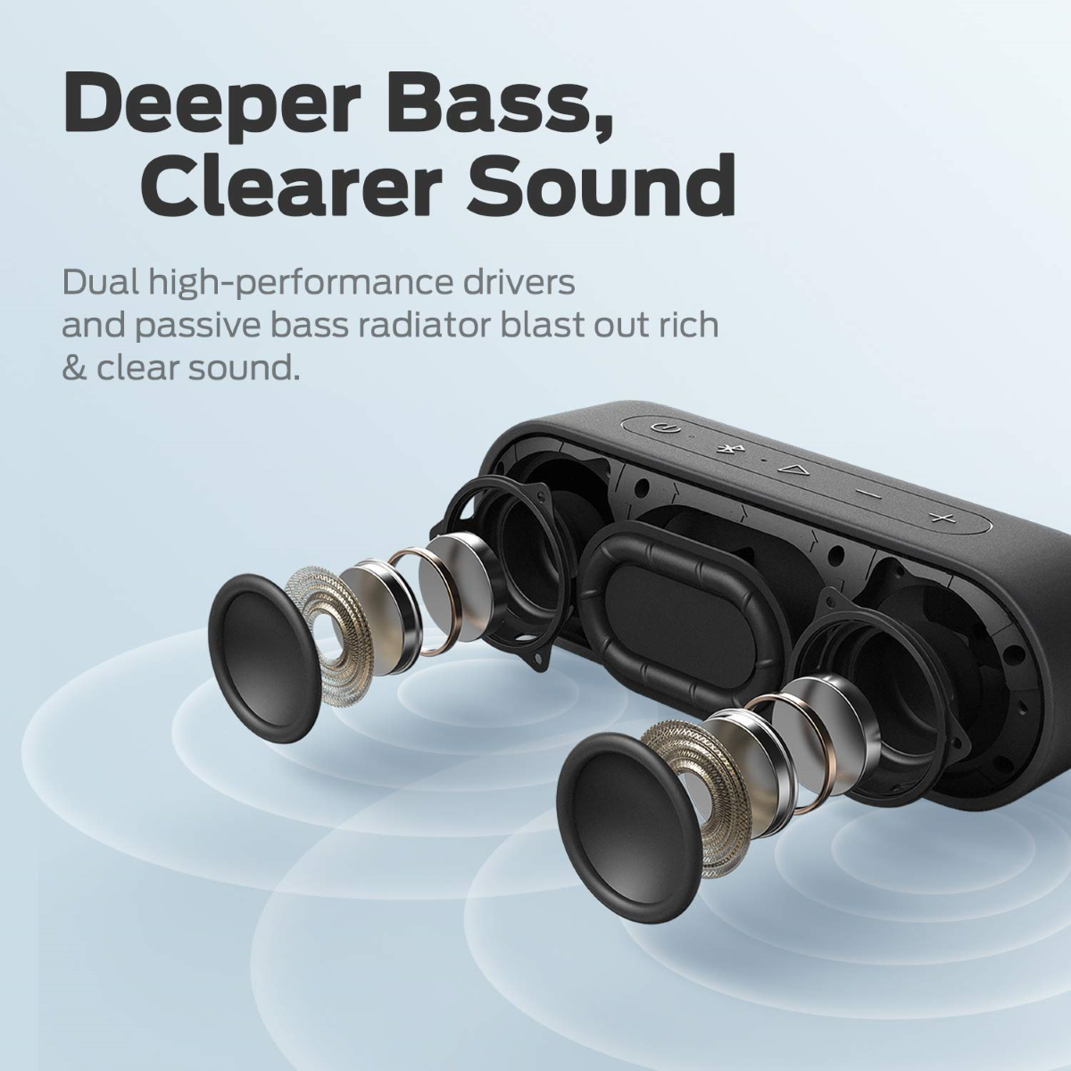 XSound Go - Dual High-Performance 6W 40mm Drivers and State-of-The-Art Passive Bass Radiator