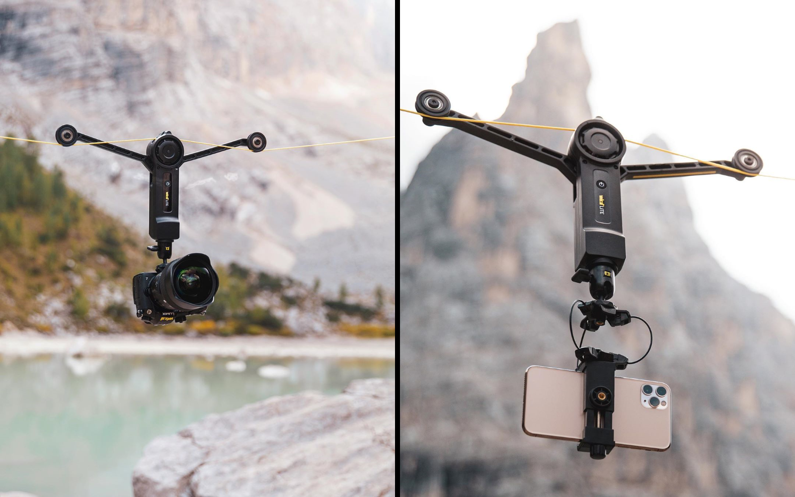 Wiral LITE's Quick Reel rope system - Compatible with cameras, smartphones, etc.