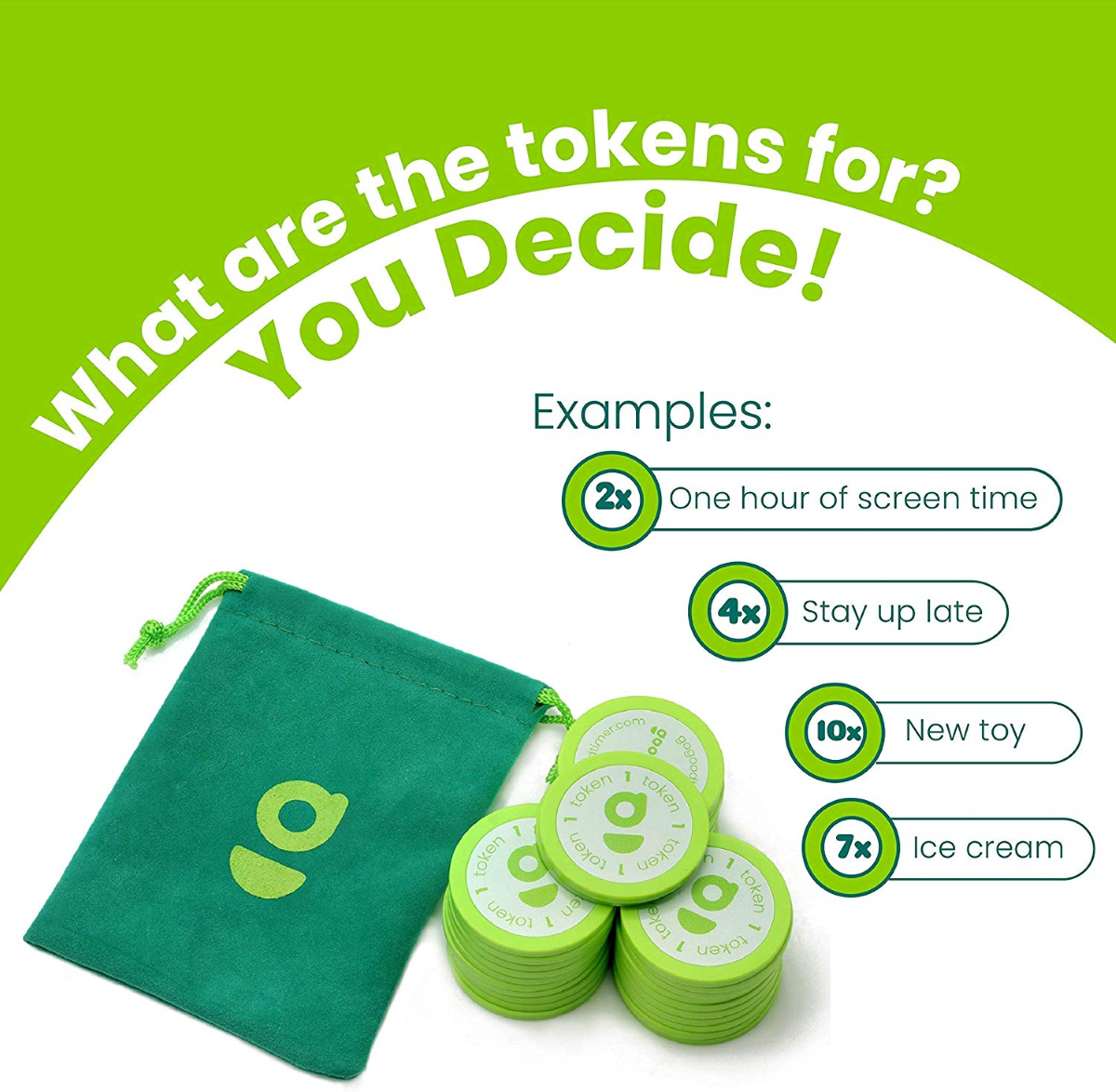 Reusable Tokens that are used to engage in family activities to reward good behavior