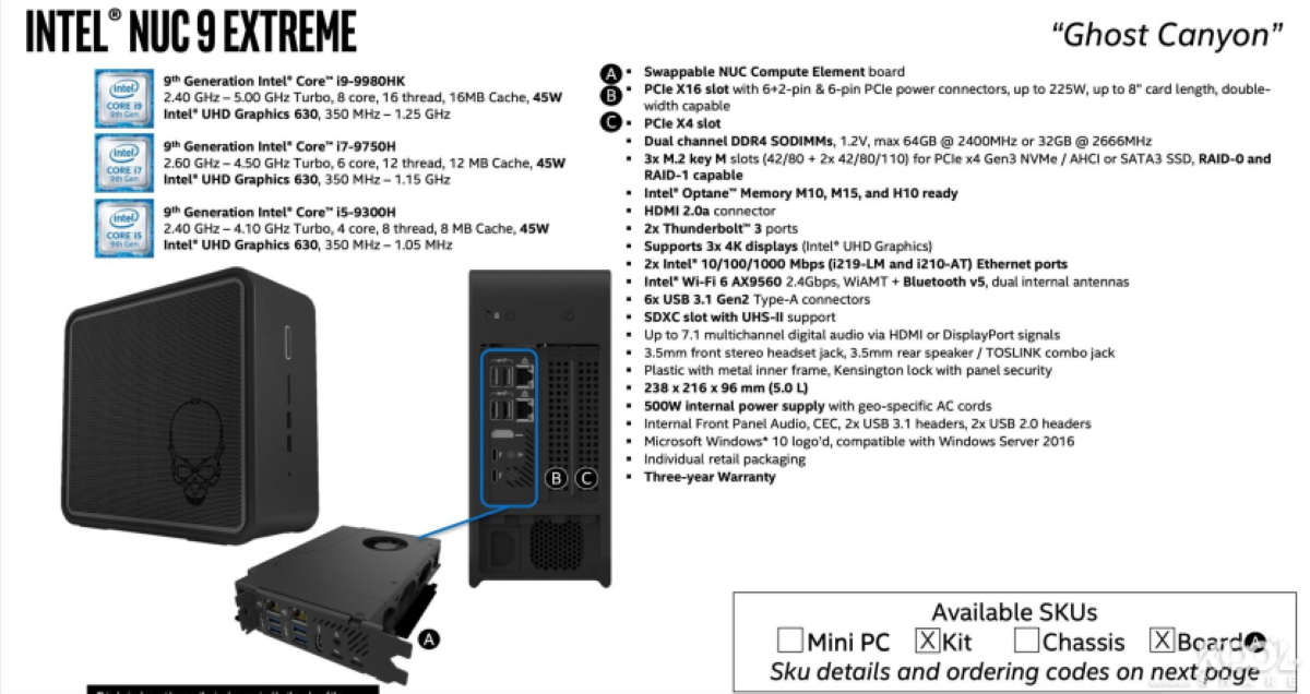 Intel Ghost Canyon NUC - Leaked Image with Supposed Specs