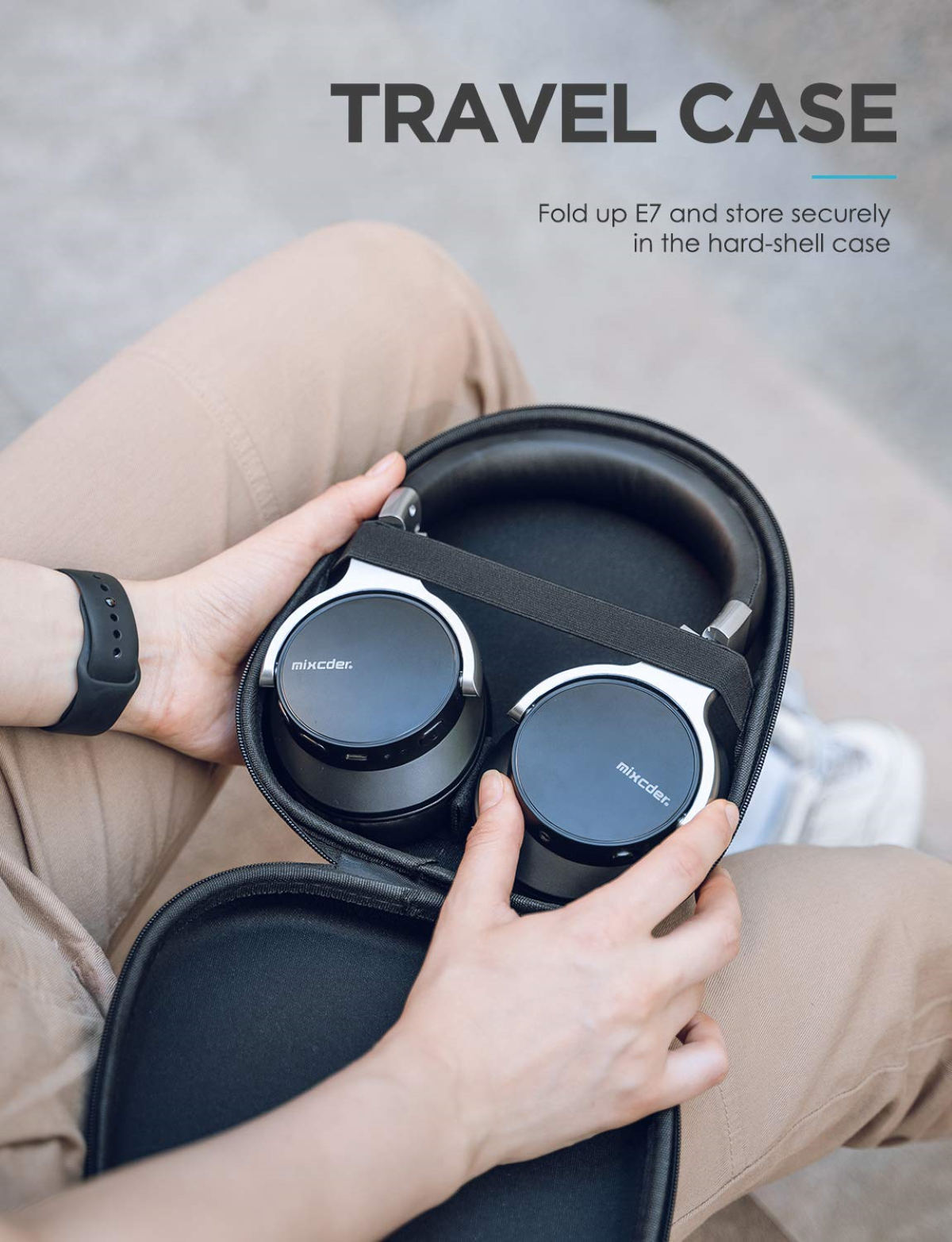 Mixcder E7 Wireless ANC Headphones - Sturdy and Durable Carrying Case