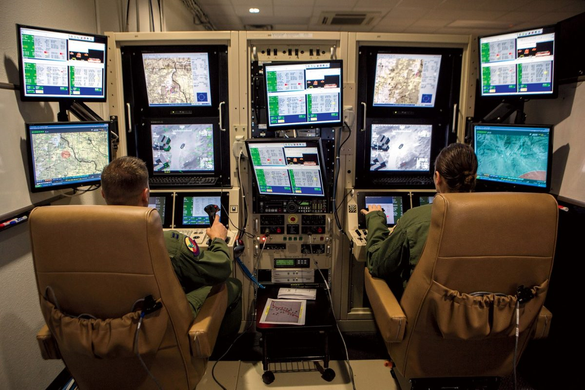 "Inside the ""cockpit"" of a military drone, which are often operated from hundreds or even thousands of miles away on the ground."