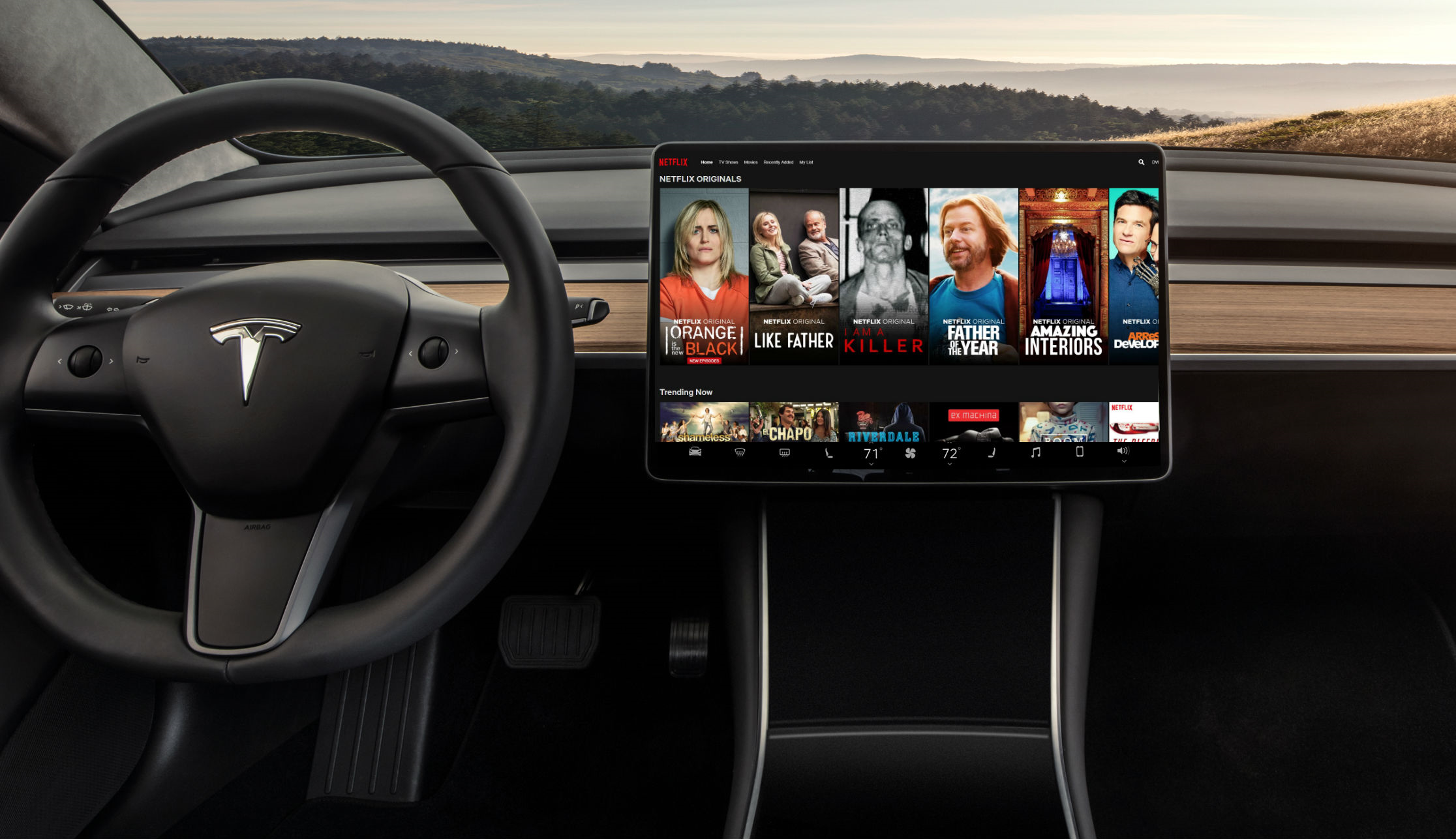 Tesla EV streaming Netflix