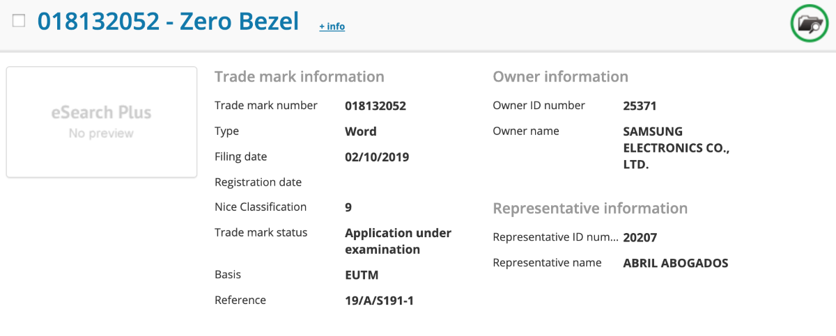 Samsung's Zero Bezel TV 's Trade Mark Information