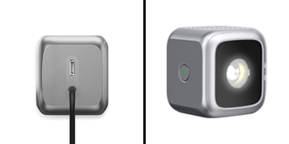 Charging Port (left) / built-in Power Status LED Indicator (right)