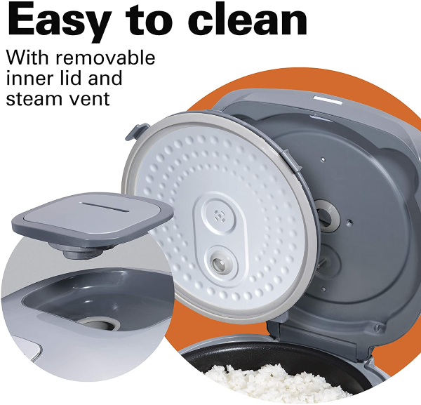 Includes a removable inner lid and removable steam vent - Easy Cleaning