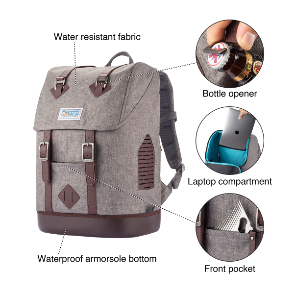 Front Side Features - Extremely Water Resistant Outer Fabric equipped with Bottle Opener, Laptop Compartment and Front pocket