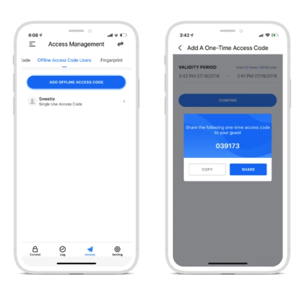 Lockly App - Manage One-time Access codes