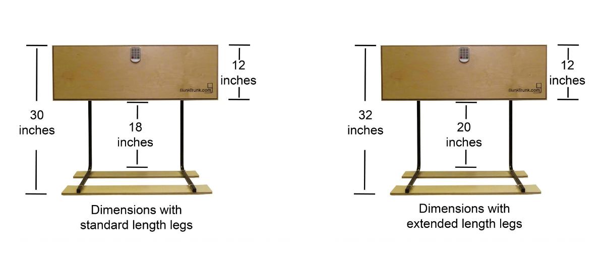 BunkTrunk 3-in-1 Footlocker - Measurements