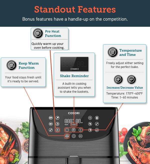 Cosori Premium 5.8-Quart Air Fryer - Function Buttons