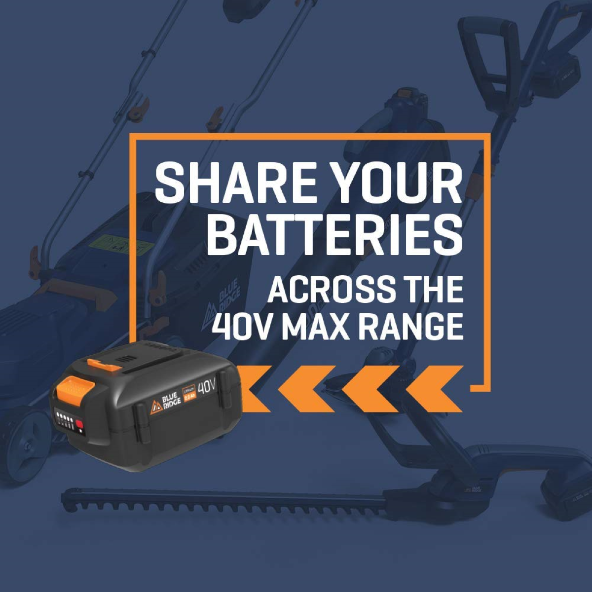 Powered by a 40V 2.0Ah rechargeable battery pack that's compatible with all other BLUE RIDGE 40v cordless tools