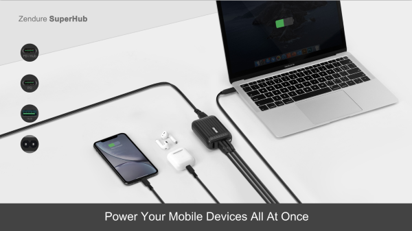 Charge up to three devices simultaneously