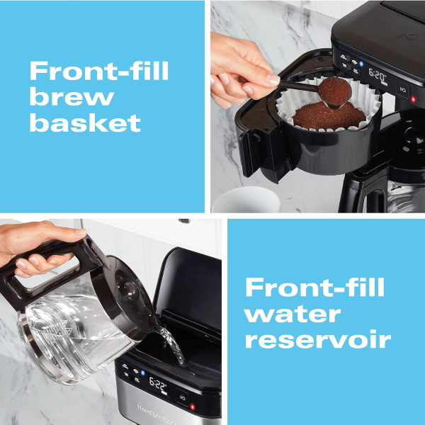 Equipped w/ a front-fill/swing-out brew basket and a front-fill water reservoir