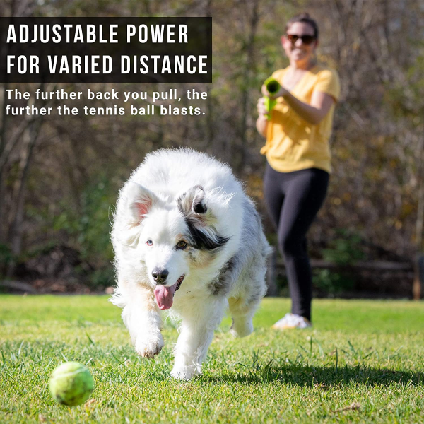 Equipped with an adjustable lever that allows dog owners to quickly change the launcher's throwing distance