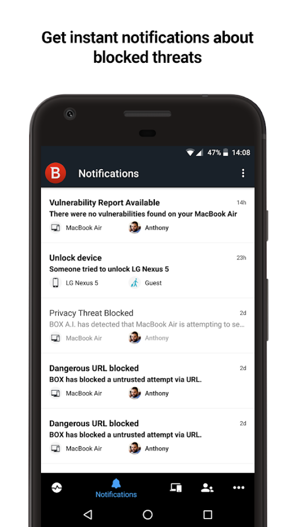 Instant App Notifications about potential threats