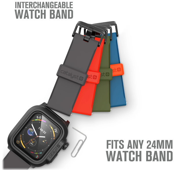 Equipped with an interchangeable 24mm premium silicone watch band