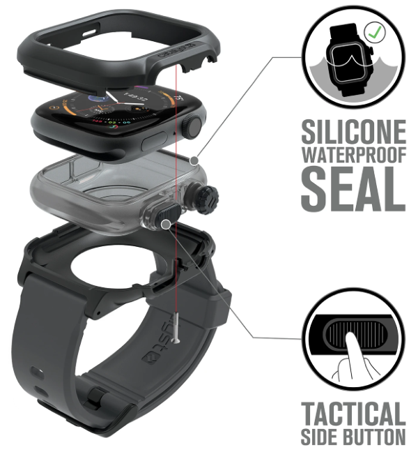 Its inner unit made of silicone offers a 100% silicone waterproof seal for your Apple Watch (Series 4 / 5)