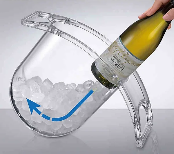 Its unique shape that lets you easily slide your favorite wine bottle into the ice