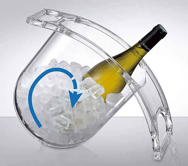 Ice then flows smoothly up its curved bottom up and over the bottle