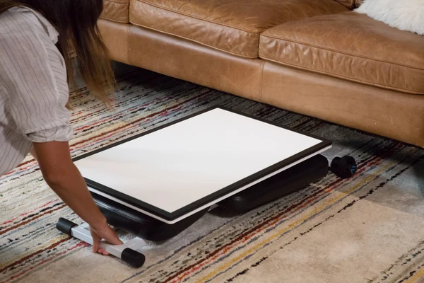 After folded, easily store it under a bed, couch, or other pieces of furniture