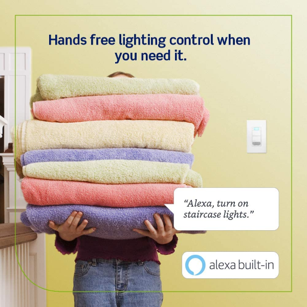With Alexa Built-in, the Decora Smart Voice Dimmer provides hands-free lighting control