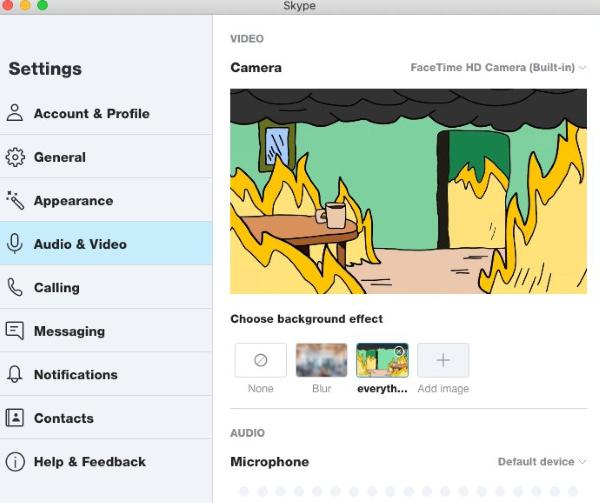 Skype's Custom Backgrounds feature