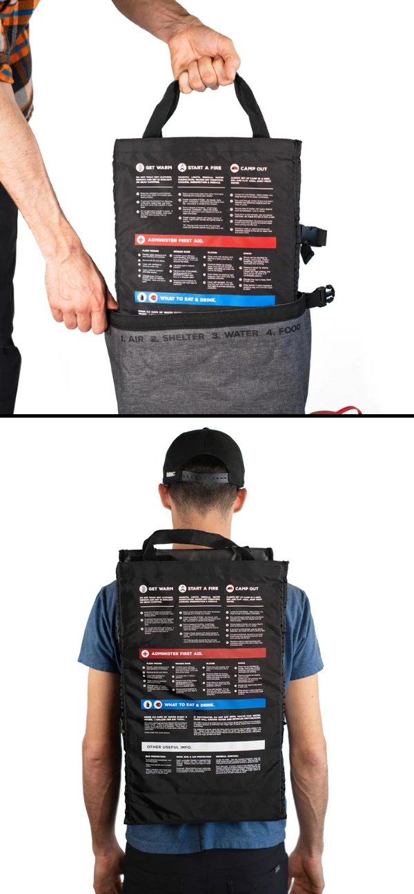 Military-Grade Canvas Insert with screen-printed graphics and survival-usage instructions