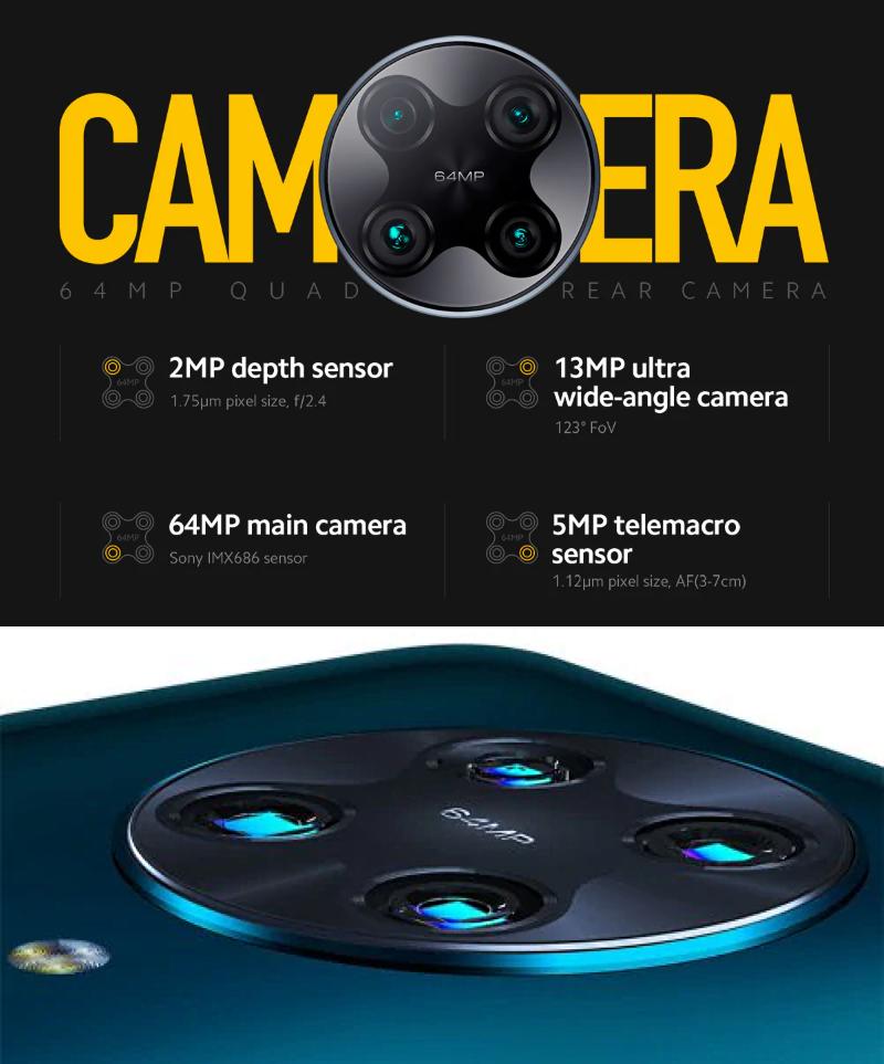 Features a circular quadruple-camera setup/module