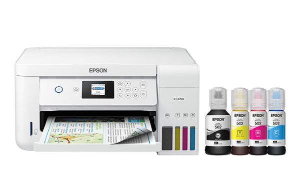 The printer's included replacement ink set packs a total of four EcoTank EcoFit Ink Bottles