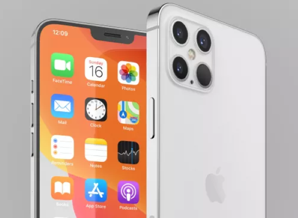 This iPhone 12 Pro render highlights the premium variant's slimmer bezels and notch, as well as its rumored quad-lens camera. (Image credit: Jonas Daehnert)