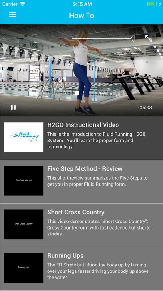 Fluid Running H2Go App