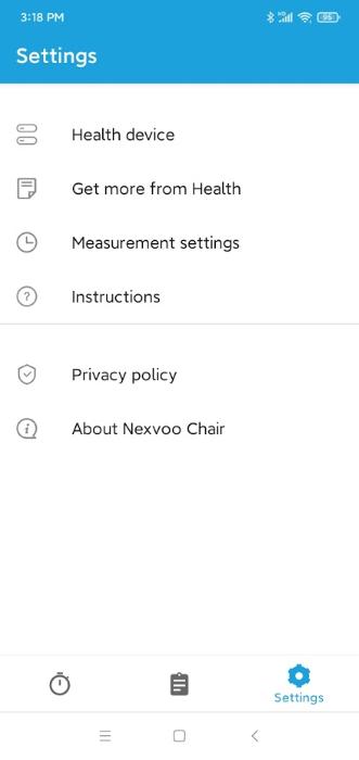 Nexvoo Chair App - Settings Menu