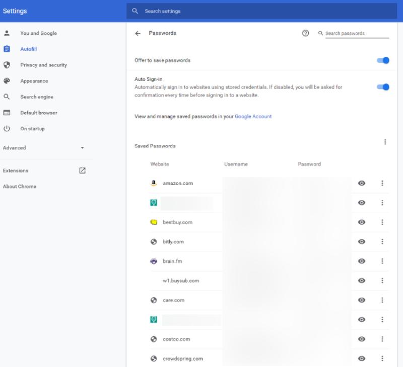 Google Chrome's Passowrd Manager