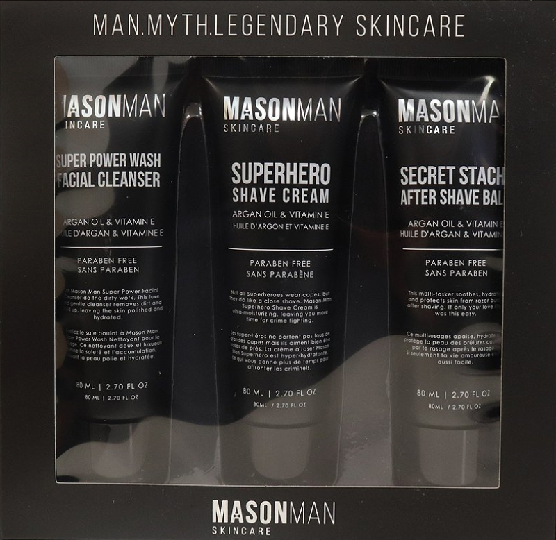 Mason Man Skincare Products - Facial Cleanser, Shave Cream and After Shave Balm